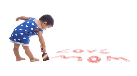 baby painting color brush on floor isolated white background use for multipurpose