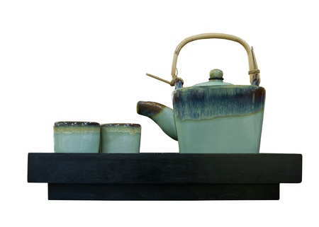 chinese tea pot isolated white background photo