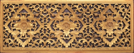 wood craft: thai fine art wood craft in public temple isolated white Stock Photo