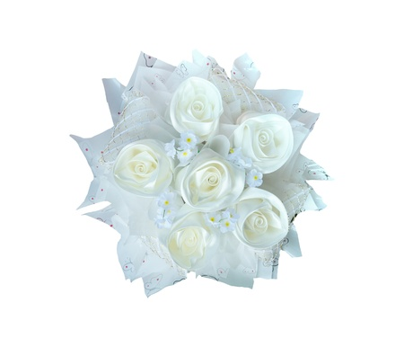 white roses bouquet isolated white Stock Photo - 21647632