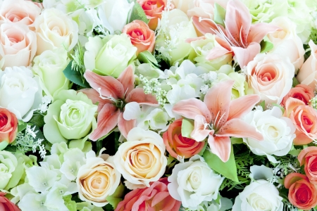 flowers bouquet: close up artificial flower use as background