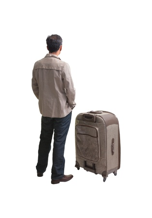 back of young man standing with big suitcase isolatedwhite photo