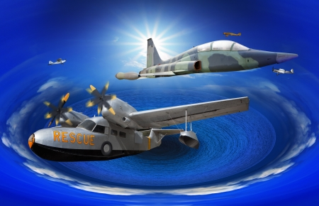 above the clouds: flying of may kind old classic plane over fantasy blue ocean