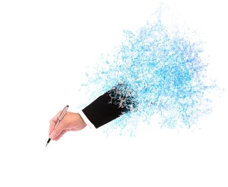spruzzi acqua: archivio di mano di uomo d'affari scrittura attraverso spruzzi d'acqua con spazio vuoto per fini di riempimento parola