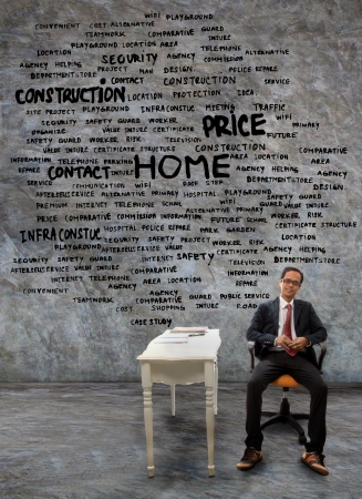 face work: man sitting on working desk with all about home problem topic on wall