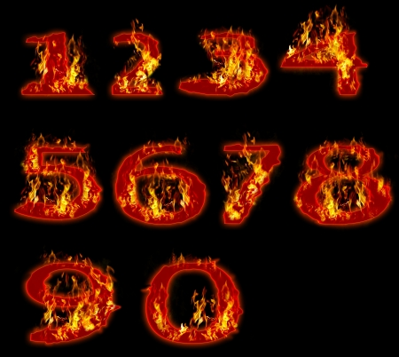 arabic number: fire burning on arabic number zero to nine use for multipurpose Stock Photo