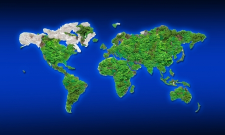 physic: world map by green leaves and rock texture  Stock Photo