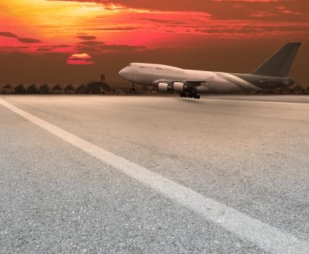 plane landing:  jet plane landing on runway