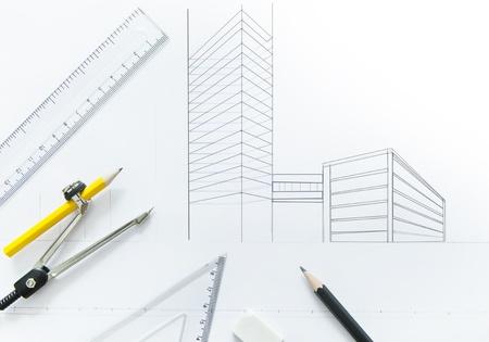 compas de dibujo: brújula y estacionaria en dos planta en perspectiva punto Foto de archivo