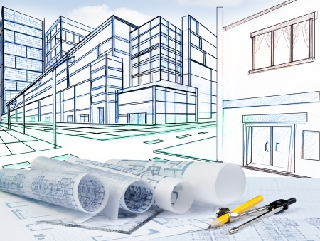 construction project: perspective of building on street with blue print and writig tool Stock Photo