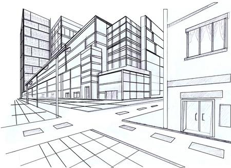 perspectief van het bouwen op straat Stockfoto