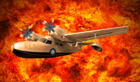 explosion engine: rescue plane flying over fire flamming