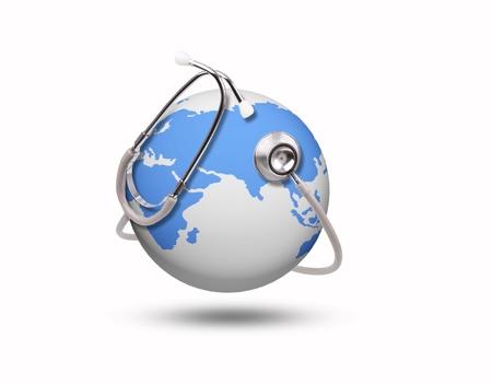 salute: salute mondo blu e stetoscopio su bianco