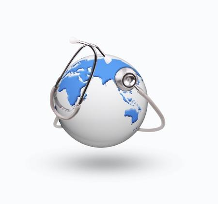 Mondo globo e uso stetoscopio per argomento la cura sano Archivio Fotografico - 24293702