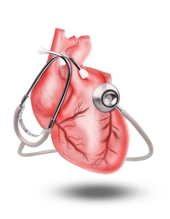 ataque al corazón: la salud del corazón con el estetoscopio sobre fondo blanco para el uso tópico médico del corazón