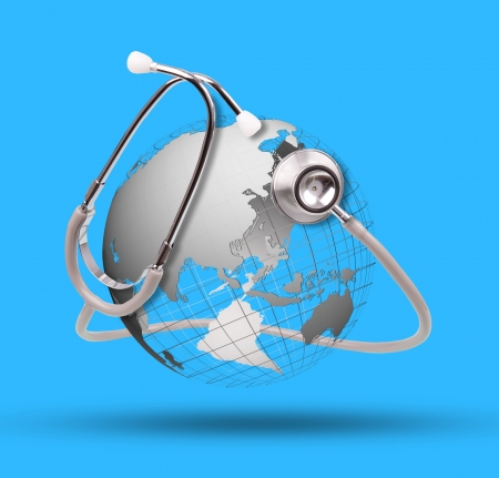 world globe and stethoscope use for healthy care topic Stock Photo