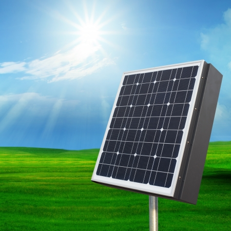 solarcell out door with with sun shining on blue sky for multipurpose photo