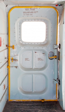aircraft rivets: door of military plane inside