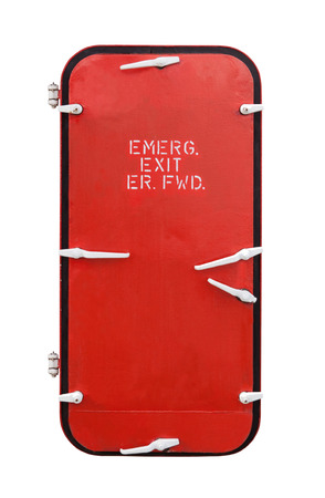 submarino: esta es la puerta de emergencia en el barco barco industrial aislado en blanco Foto de archivo