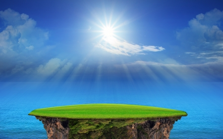 utopia: panorama of blue sky and sun shining use as natural  Stock Photo