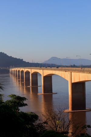 south east: loas-japan bridge crossing Mekong river in Champasak  southern of Loas Stock Photo