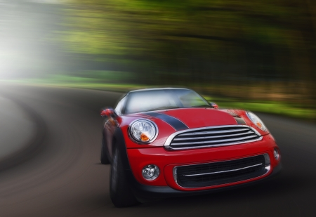 speeding: red passenger car driving on asphalt road in curve ways of mountain high ways use for transport and long journey scene