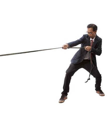 business man pulling nylon rope isolated white background