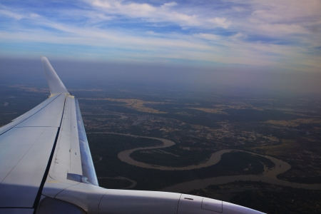 mea: top view from plane window above mea moon river ubonratchathani north eastern of thaialnd
