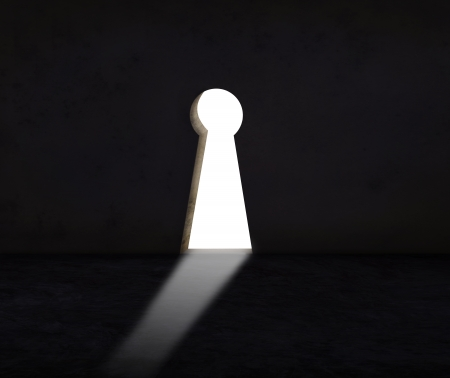 key hole: key hole wall with light use for abstract of solution crisis and alternative decision