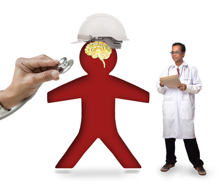 doctor checking human icon wearing safety helmet protect smart brain on white photo