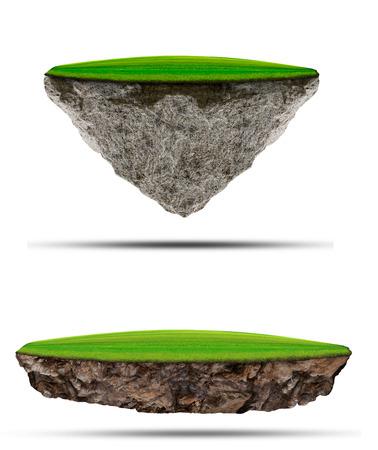 meadow  grass: dos tipos de campo de hierba verde que flota sobre la isla de la roca en el uso de blanco por la naturaleza polivalente y creativo