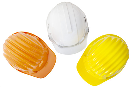 protective helmets: top view of multicolor safetyt,construction ,protection helmet  isolated white background Stock Photo