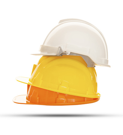 construction tools: multicolor safety, construction protection helmet isolated white background