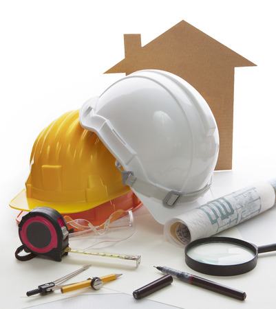 businees: home model ,architect and engineering writing tool and stationary equipment use for construction businees theme  Stock Photo