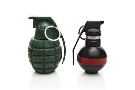 kind of hand grenade bomber isolated on white background photo