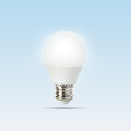 growing of led light bulb floating on gradient  light blue to white  photo