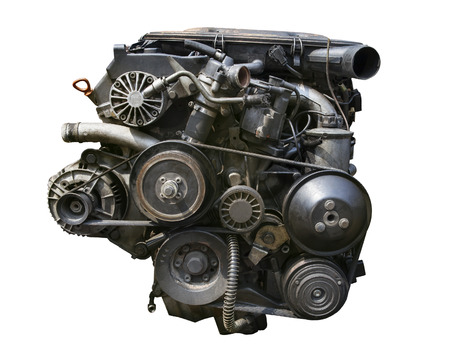 old gasoline engine isolated white background photo