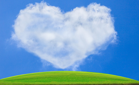 green grass field against blue sky and white clouds heart shape use for nature background backdrop copy space  photo