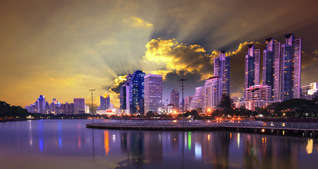 citylife: beautiful dusky sky of modern building and city life landmark in heart of bangkok