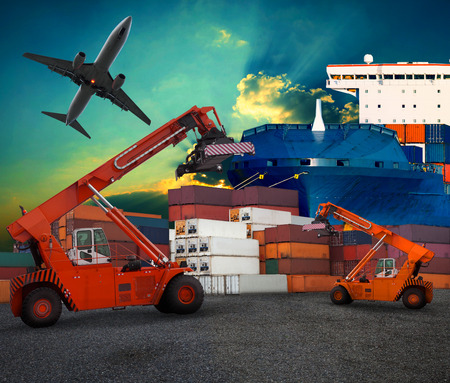 ship yard  logistic by land transport and air plane use for transportation industry business and port trading service industrial photo