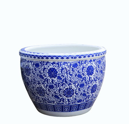 old chinese flowers pattern style painting on the ceramic bowl isolated white object photo