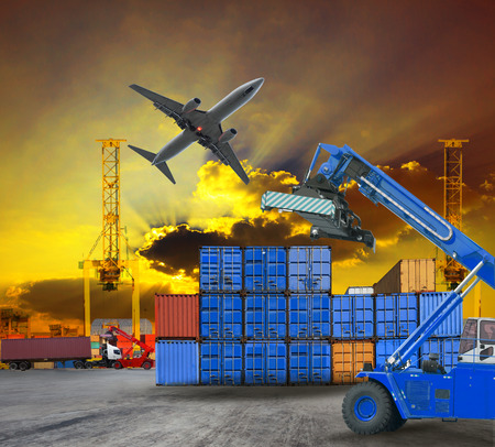container and port ship yard scene logistic service by  truck ,land transport and air plane cargo use for transportation industry business and port freight trading service industrial  版權商用圖片