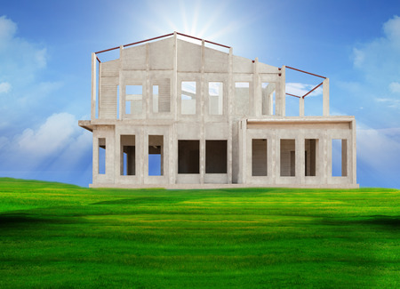 property development: frame of knock down house isolated white background use for construction industry ,and real estate property land development on green field