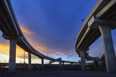 infra construction: concrete structure of express way against beautiful dusky sky use for infra structure and public construction theme Stock Photo