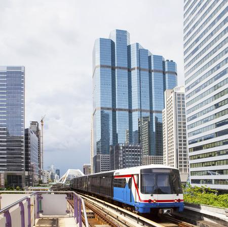 BTS Electric Railway Sky Train at Bangkok Thailand sky train most popular mass metropolitan transportation in heart of bangkok thailand