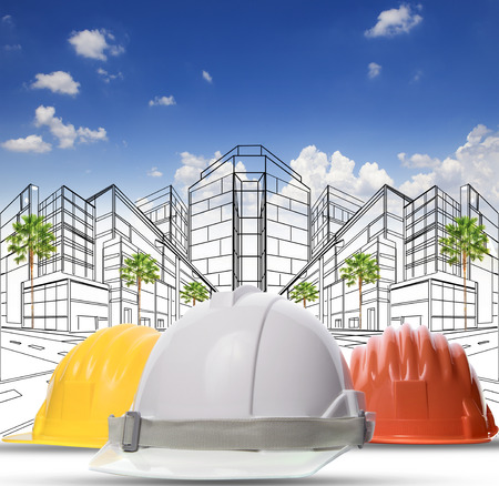 three color of safety construction protective helmet on white background photo