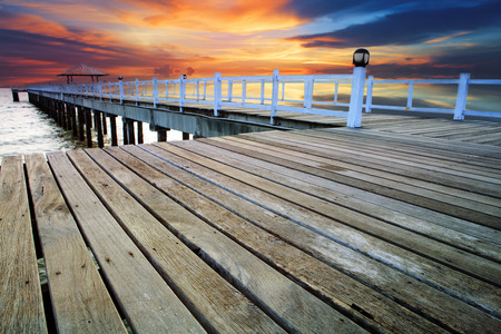 water scape: wood piers and pavillion sea scene with dusky sky use for natural background ,backdrop