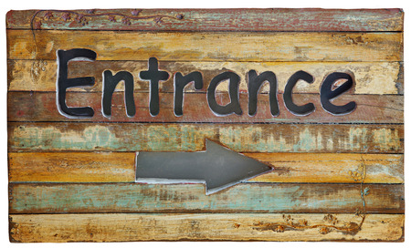 wood banner entrance on old retro and vintage style wooden panel  photo