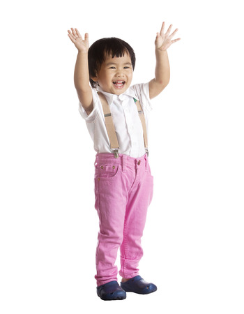 portrait of asian chicldren standing with lovely face isolated white background photo