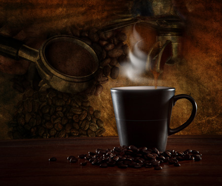 blending: hot coffee blending roast on wood table